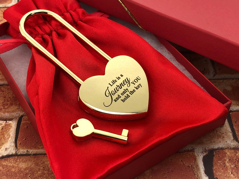 Personalized Heart Love Padlock With Key, Gold Love Lock Heart Lock, Custom Lock, Engraved Love Lock, Just Married, Engagement, Wedding Gift 15