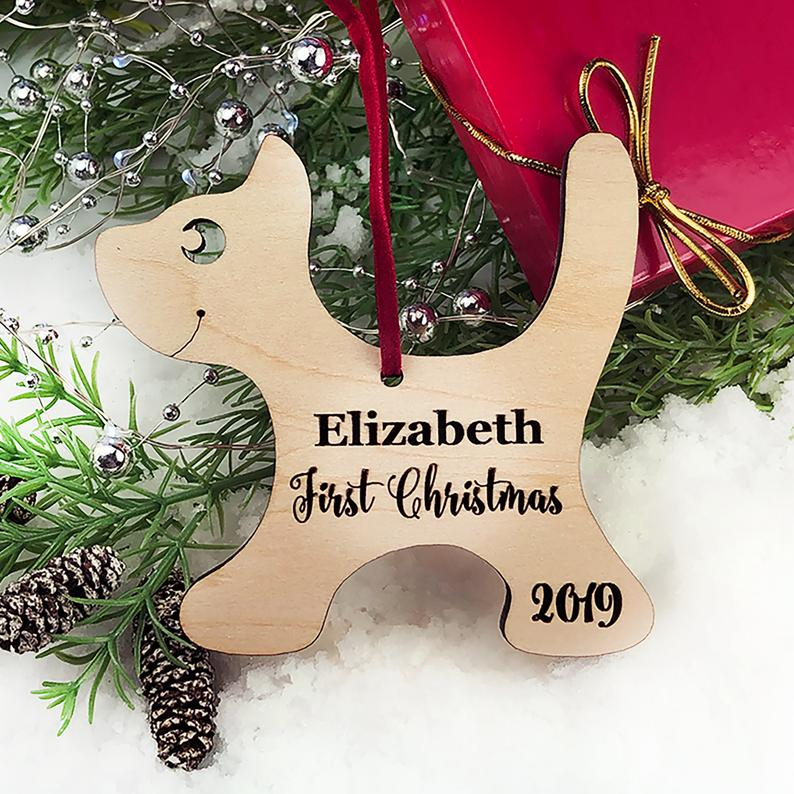 Baby's First Christmas Ornament, Engraved Kitten Christmas Ornament, Baby's Personalized Christmas Gift, Christmas Personalized Ornament 11