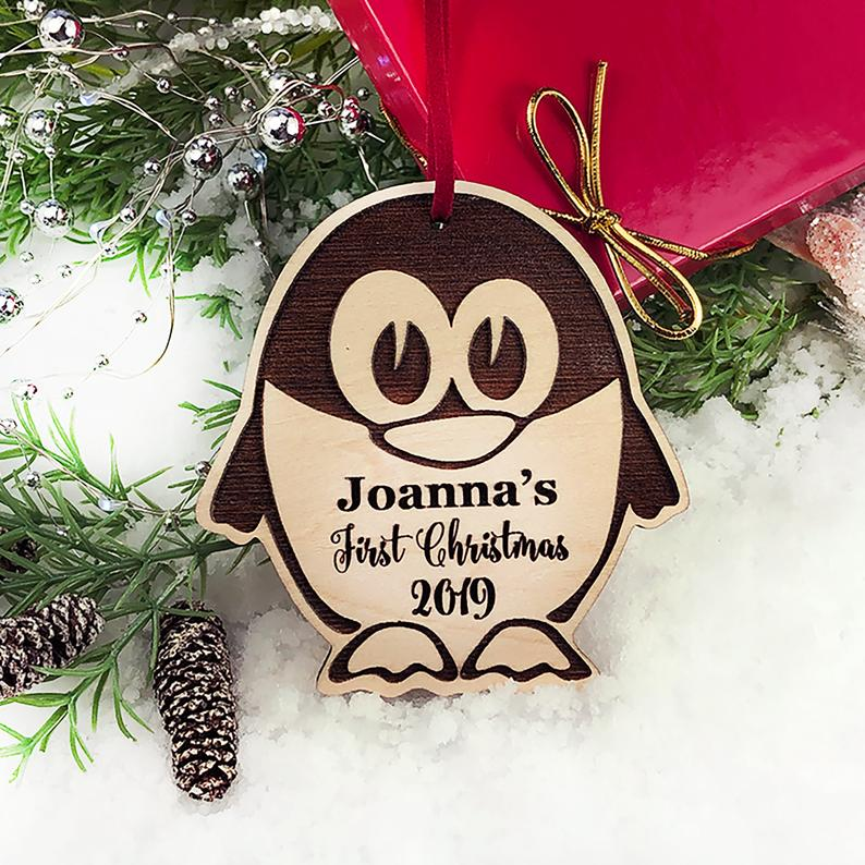 Personalized Christmas Ornament, Baby's First Christmas, Baby's First Christmas Ornament, Penguin Ornament, Custom Christmas Ornament Gift 9