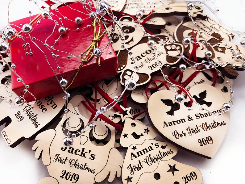 Our First Christmas Ornament, Just Married Couple Personalized Christmas Ornament, Newlywed Gift, Housewarming gift Custom Engraved Ornament 11