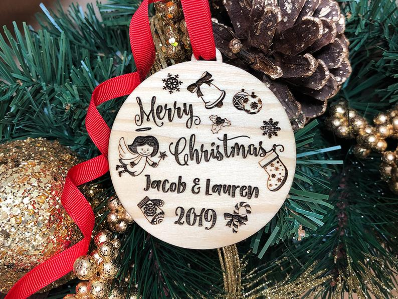 Personalized Christmas Ornament, Our First Christmas Ornaments Personalized, Newlywed Ornament, Just Married Ornament, Merry Christmas Gift 11