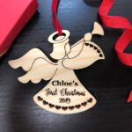 Baby First Christmas Ornament - Personalized Angel Ornament - Engraved Wooden Christmas Ornament, Baby's First Ornament, Christmas Baby Gift 2