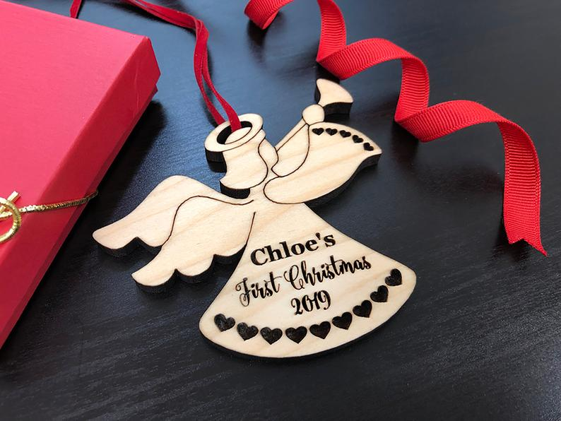 Baby First Christmas Ornament - Personalized Angel Ornament - Engraved Wooden Christmas Ornament, Baby's First Ornament, Christmas Baby Gift 19