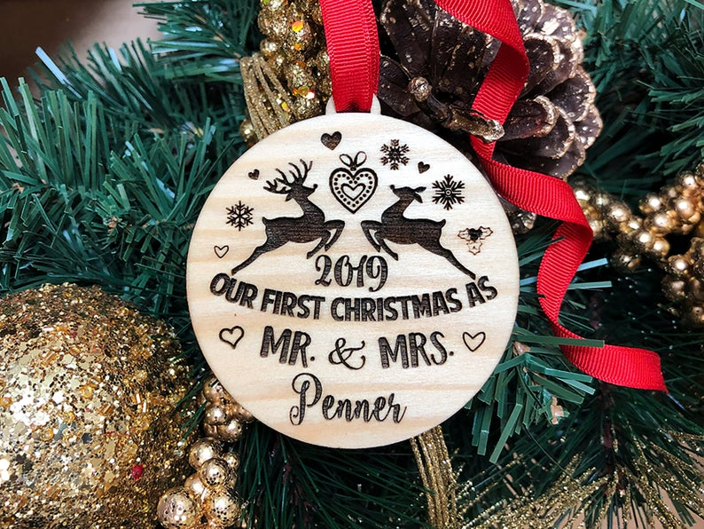 Our First Christmas Ornament, Just Married Couple Personalized Christmas Ornament, Newlywed Gift, Housewarming gift Custom Engraved Ornament 19