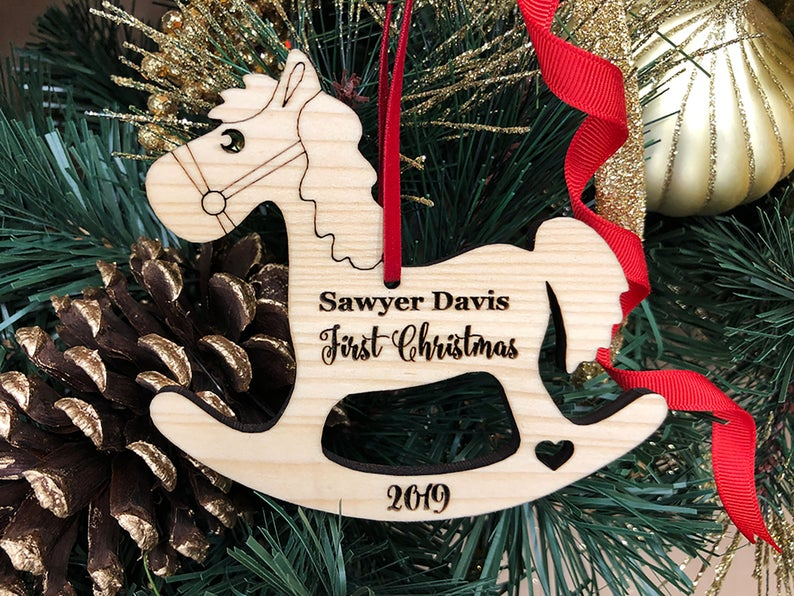 Baby First Christmas Ornament, Baby First Christmas Gift, Personalized Christmas Ornament, Rocking Horse Ornament, Custom Engraved Ornament 17