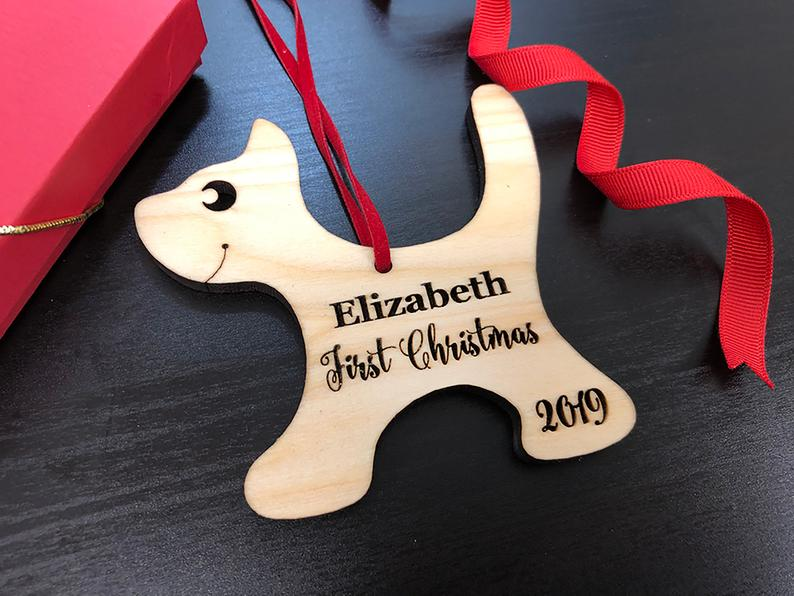 Baby's First Christmas Ornament, Engraved Kitten Christmas Ornament, Baby's Personalized Christmas Gift, Christmas Personalized Ornament 15