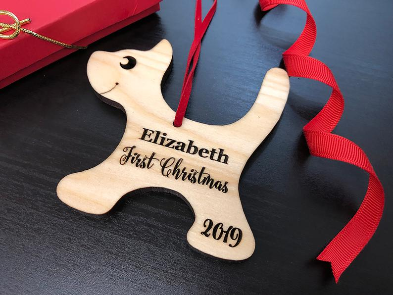 Baby's First Christmas Ornament, Engraved Kitten Christmas Ornament, Baby's Personalized Christmas Gift, Christmas Personalized Ornament 17