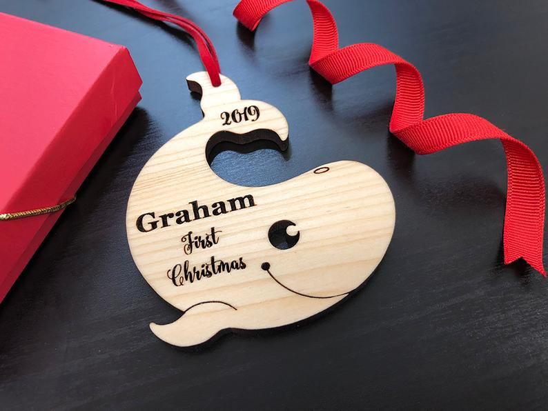 Personalized Baby's First Christmas Ornament, Baby First Ornament, Personalized Whale Ornament, New Baby Gift, Custom Wooden Christmas Gift 17