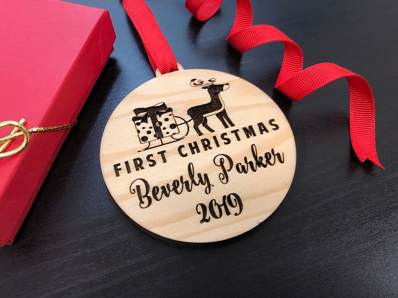Baby First Christmas Ornament, Personalized Christmas Gift, Engraved Wooden Ornament, Baby First Gift for Christmas, Custom Gift for Baby 13