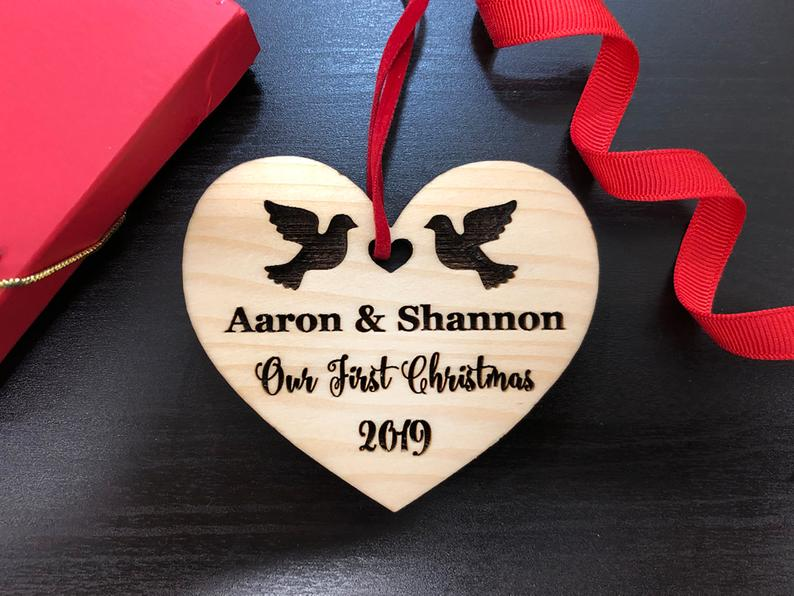Personalized Wedding Gift, First Christmas Ornament, Just Married Wedding Gift for Couple, Wedding Ornament Ornaments Personalized Newlywed 6