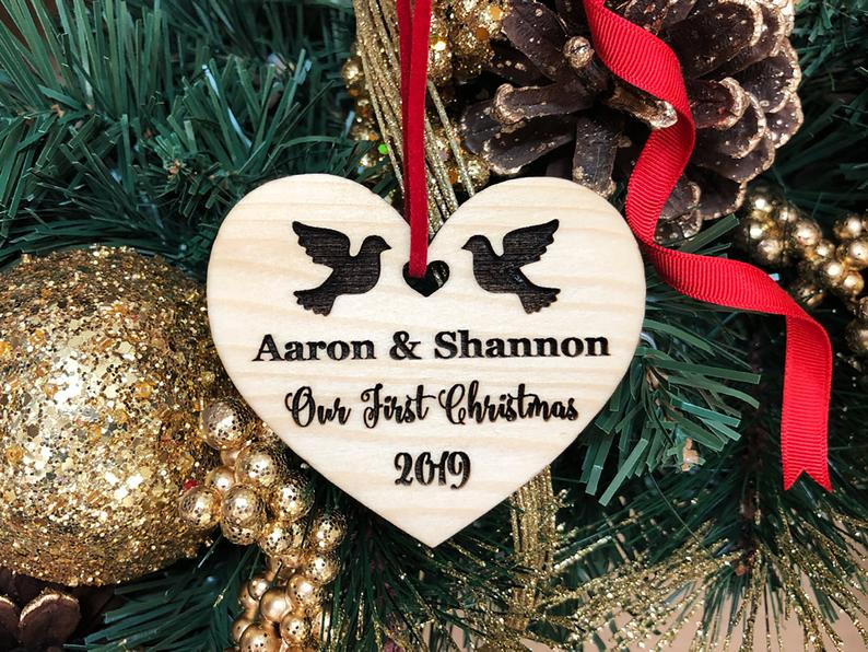 Personalized Wedding Gift, First Christmas Ornament, Just Married Wedding Gift for Couple, Wedding Ornament Ornaments Personalized Newlywed 15