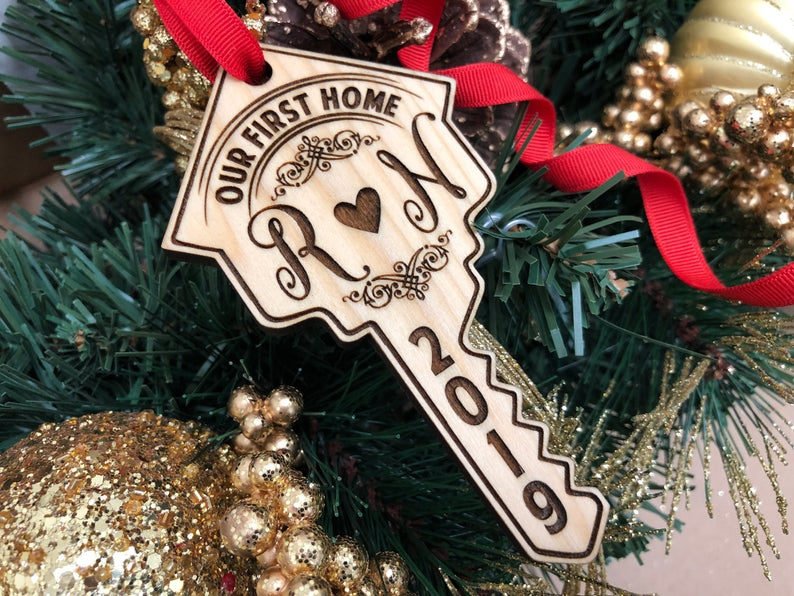 Our First Home Key Personalized Christmas Ornament, New Home Ornament, Our First Home, Real Estate Agent, Realtor Gift, New House, Our Home 5