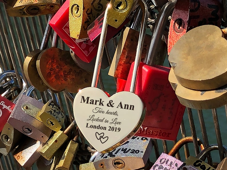 Personalized Love Lock - Padlock - Lock for Bridge - Engraved Padlock with Key, Gift for Lovers, Personalized Engagement Gift - Love Lock 11