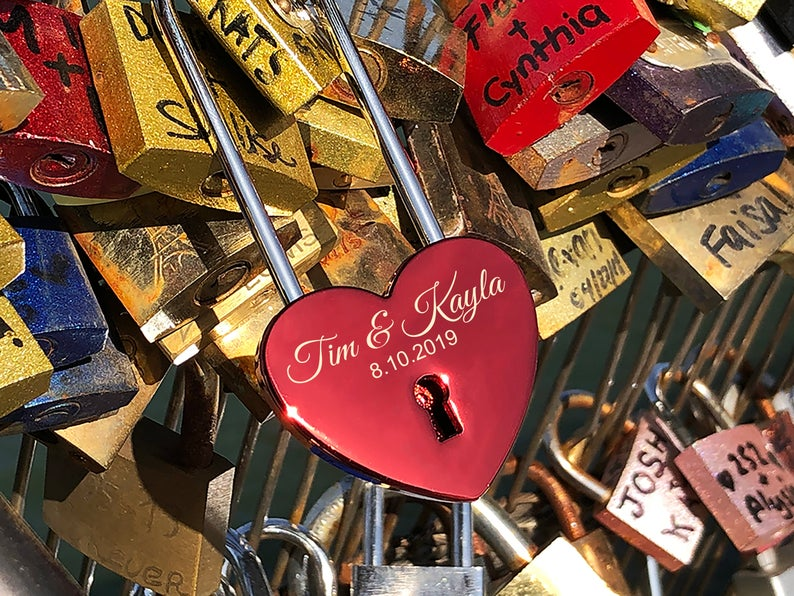 Personalized Love Lock - Red Heart Lock with Key - Personalized Heart Love Padlock - Engraved Love Lock - Engagement Gift 11