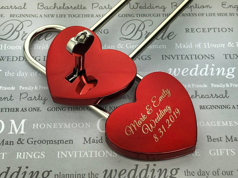 Personalized Love Lock.Heart Shaped Love Lock. Personalized Wedding Gift, Padlock, Engraved Love Lock Padlock Engagement Gift, Locks of Love 13