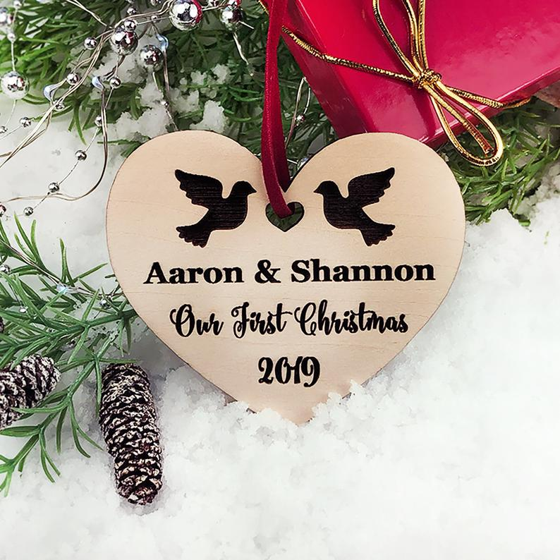 Personalized Wedding Gift, First Christmas Ornament, Just Married Wedding Gift for Couple, Wedding Ornament Ornaments Personalized Newlywed 17