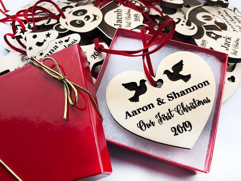 Personalized Wedding Gift, First Christmas Ornament, Just Married Wedding Gift for Couple, Wedding Ornament Ornaments Personalized Newlywed 19