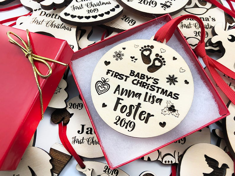 Baby's First Christmas Ornament, Personalized with Name and Date, Christmas Gift or Baby Gift, Personalized Baby's Christmas Gift, Keepsake 13