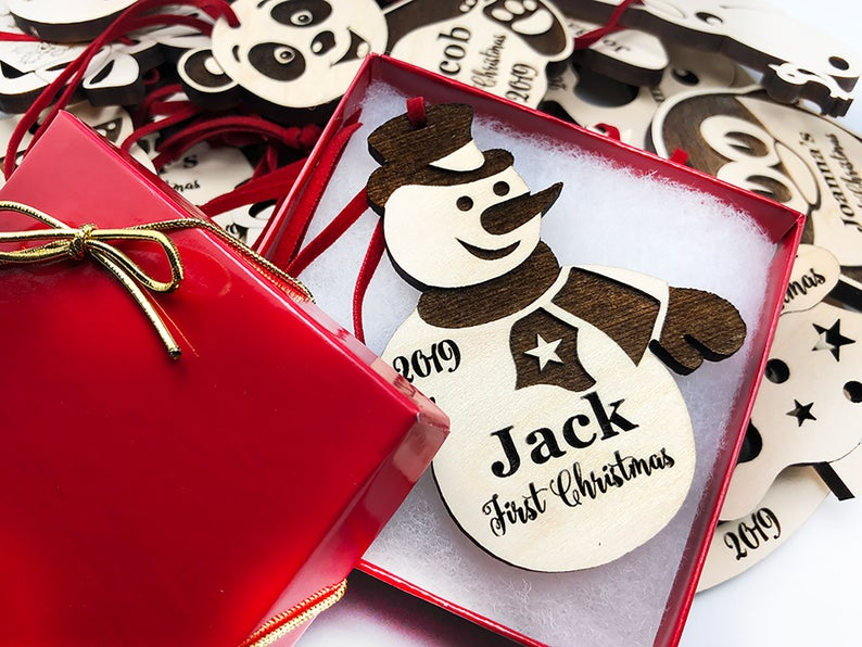 Baby's First Christmas Ornament, Personalized, Baby's First Christmas Gift, Baby's 1st Christmas, Snowman, Engraved Christmas Gift Ornament 9