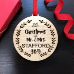 Our First Christmas Ornament, Personalized Christmas Ornaments Wood, Wedding Gift Christmas Ornament, Newlywed Christmas Gift, Personalized 4