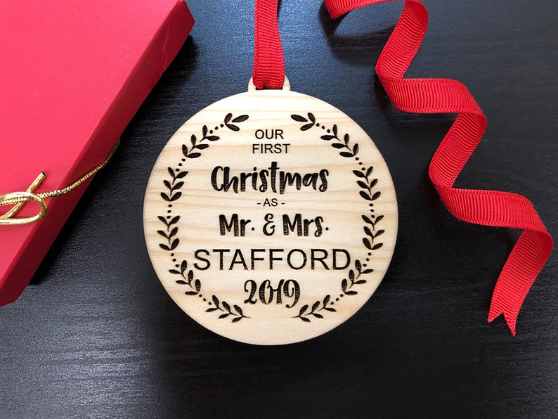 Our First Christmas Ornament, Personalized Christmas Ornaments Wood, Wedding Gift Christmas Ornament, Newlywed Christmas Gift, Personalized 6