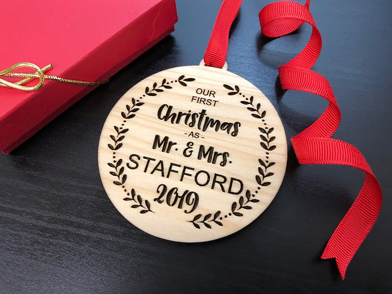 Our First Christmas Ornament, Personalized Christmas Ornaments Wood, Wedding Gift Christmas Ornament, Newlywed Christmas Gift, Personalized 19