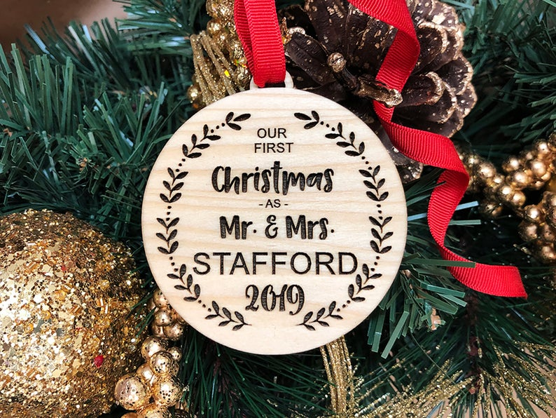 Our First Christmas Ornament, Personalized Christmas Ornaments Wood, Wedding Gift Christmas Ornament, Newlywed Christmas Gift, Personalized 21