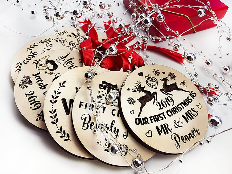 Our First Christmas Ornament, Personalized Christmas Ornaments Wood, Wedding Gift Christmas Ornament, Newlywed Christmas Gift, Personalized 23