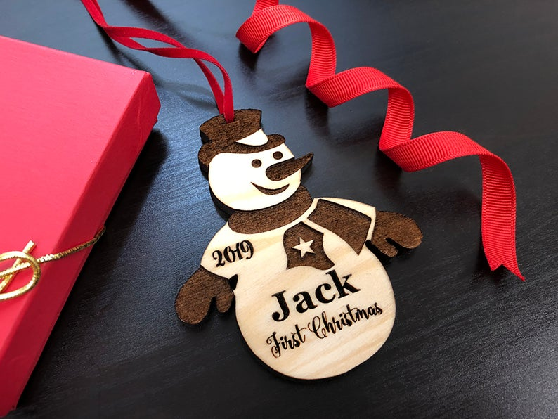 Baby's First Christmas Ornament, Personalized, Baby's First Christmas Gift, Baby's 1st Christmas, Snowman, Engraved Christmas Gift Ornament 13