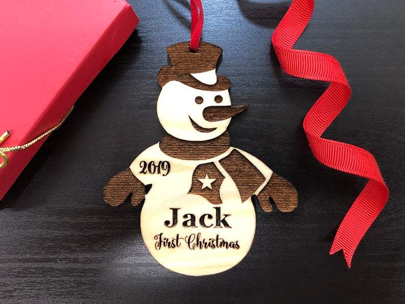 Baby's First Christmas Ornament, Personalized, Baby's First Christmas Gift, Baby's 1st Christmas, Snowman, Engraved Christmas Gift Ornament 15