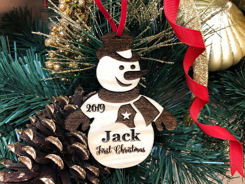 Baby's First Christmas Ornament, Personalized, Baby's First Christmas Gift, Baby's 1st Christmas, Snowman, Engraved Christmas Gift Ornament 6