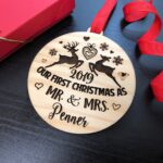 Our First Christmas Ornament, Just Married Couple Personalized Christmas Ornament, Newlywed Gift, Housewarming gift Custom Engraved Ornament 4