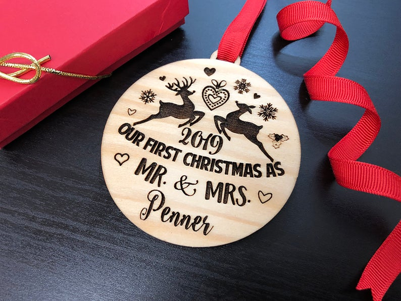 Our First Christmas Ornament, Just Married Couple Personalized Christmas Ornament, Newlywed Gift, Housewarming gift Custom Engraved Ornament 6