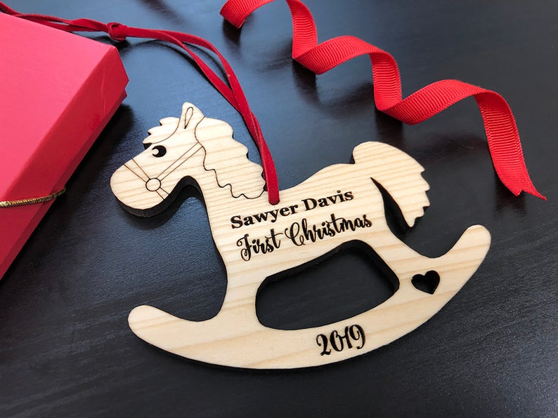 Baby First Christmas Ornament, Baby First Christmas Gift, Personalized Christmas Ornament, Rocking Horse Ornament, Custom Engraved Ornament 23