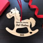 Baby First Christmas Ornament, Baby First Christmas Gift, Personalized Christmas Ornament, Rocking Horse Ornament, Custom Engraved Ornament 2