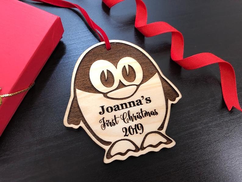 Personalized Christmas Ornament, Baby's First Christmas, Baby's First Christmas Ornament, Penguin Ornament, Custom Christmas Ornament Gift 19
