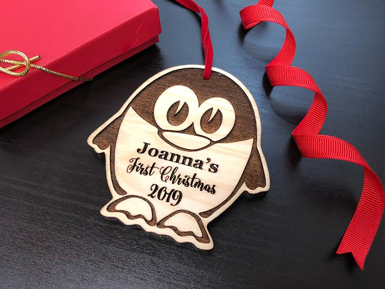 Personalized Christmas Ornament, Baby's First Christmas, Baby's First Christmas Ornament, Penguin Ornament, Custom Christmas Ornament Gift 21