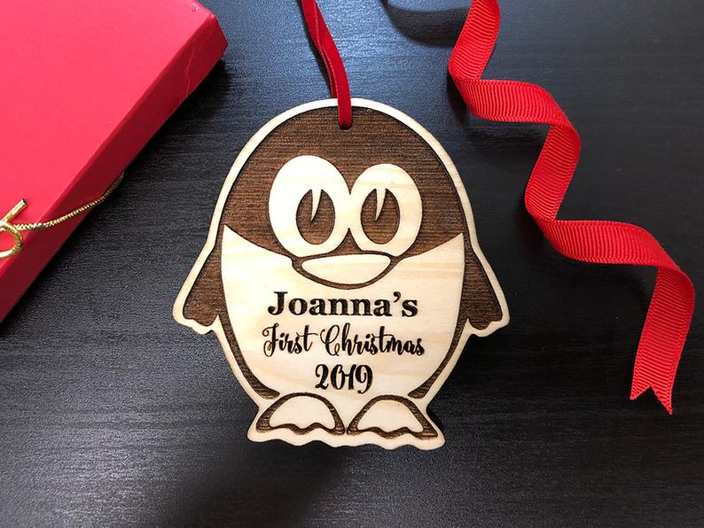 Personalized Christmas Ornament, Baby's First Christmas, Baby's First Christmas Ornament, Penguin Ornament, Custom Christmas Ornament Gift 6