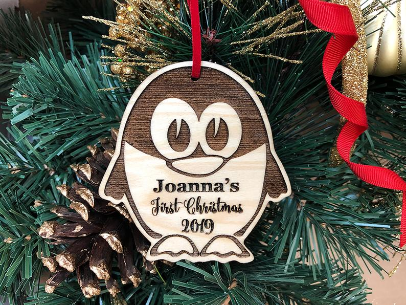 Personalized Christmas Ornament, Baby's First Christmas, Baby's First Christmas Ornament, Penguin Ornament, Custom Christmas Ornament Gift 23