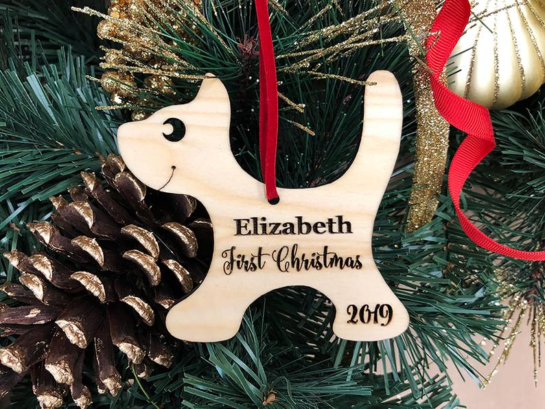 Baby's First Christmas Ornament, Engraved Kitten Christmas Ornament, Baby's Personalized Christmas Gift, Christmas Personalized Ornament 23