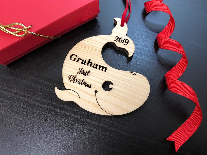 Personalized Baby's First Christmas Ornament, Baby First Ornament, Personalized Whale Ornament, New Baby Gift, Custom Wooden Christmas Gift 21