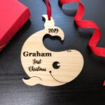 Personalized Baby's First Christmas Ornament, Baby First Ornament, Personalized Whale Ornament, New Baby Gift, Custom Wooden Christmas Gift 2