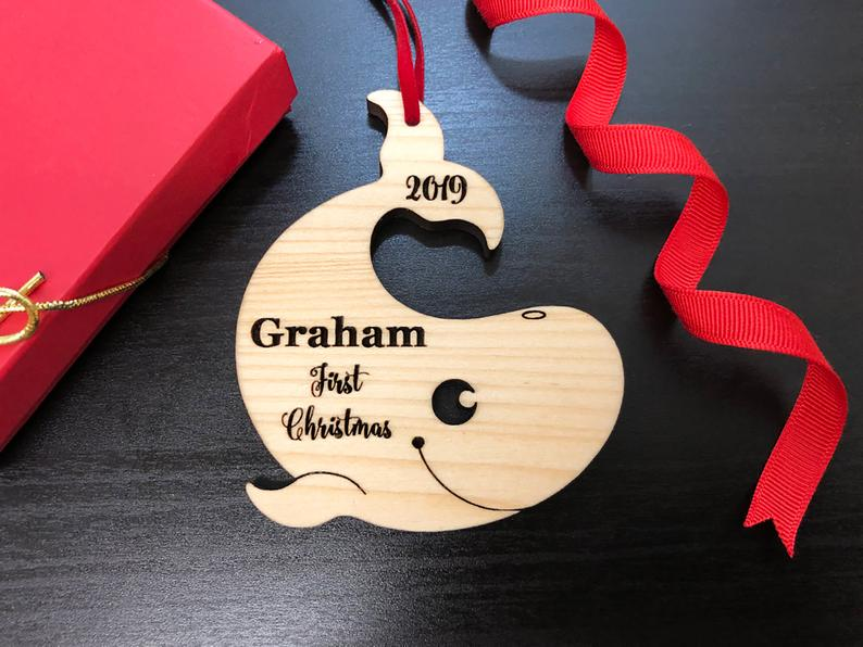 Personalized Baby's First Christmas Ornament, Baby First Ornament, Personalized Whale Ornament, New Baby Gift, Custom Wooden Christmas Gift 6