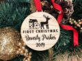 Baby First Christmas Ornament, Personalized Christmas Gift, Engraved Wooden Ornament, Baby First Gift for Christmas, Custom Gift for Baby 22