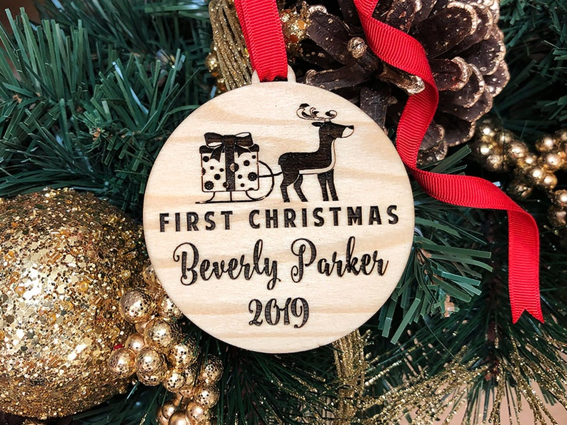 Baby First Christmas Ornament, Personalized Christmas Gift, Engraved Wooden Ornament, Baby First Gift for Christmas, Custom Gift for Baby 21