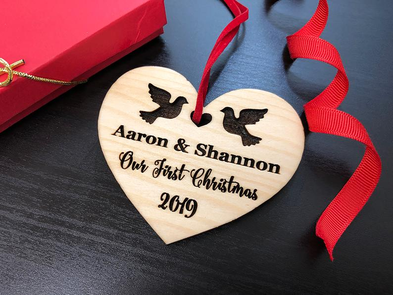Personalized Wedding Gift, First Christmas Ornament, Just Married Wedding Gift for Couple, Wedding Ornament Ornaments Personalized Newlywed 23