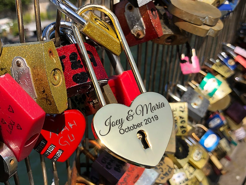 Personalized Heart Love Padlock With Key, Gold Love Lock Heart Lock, Custom Lock, Engraved Love Lock, Just Married, Engagement, Wedding Gift 17