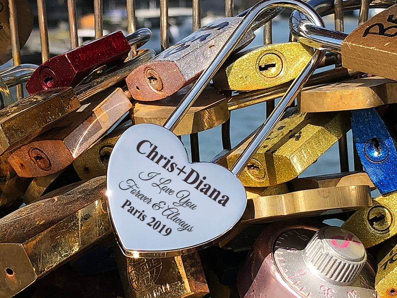 Personalized Silver Heart Love Padlock With Key, Love Lock, Heart Lock, Custom Lock, Engraved Love Lock, Silver Padlock, Love Wedding Gifts 21
