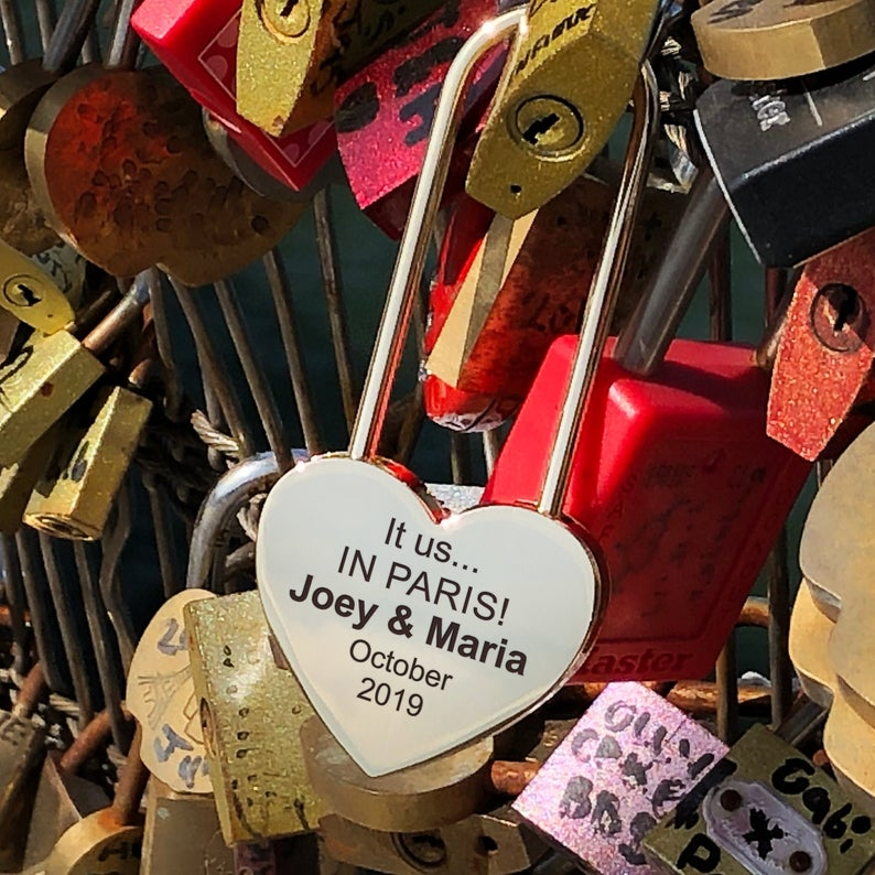 Personalized Heart Love Padlock With Key, Gold Love Lock Heart Lock, Custom Lock, Engraved Love Lock, Just Married, Engagement, Wedding Gift 23
