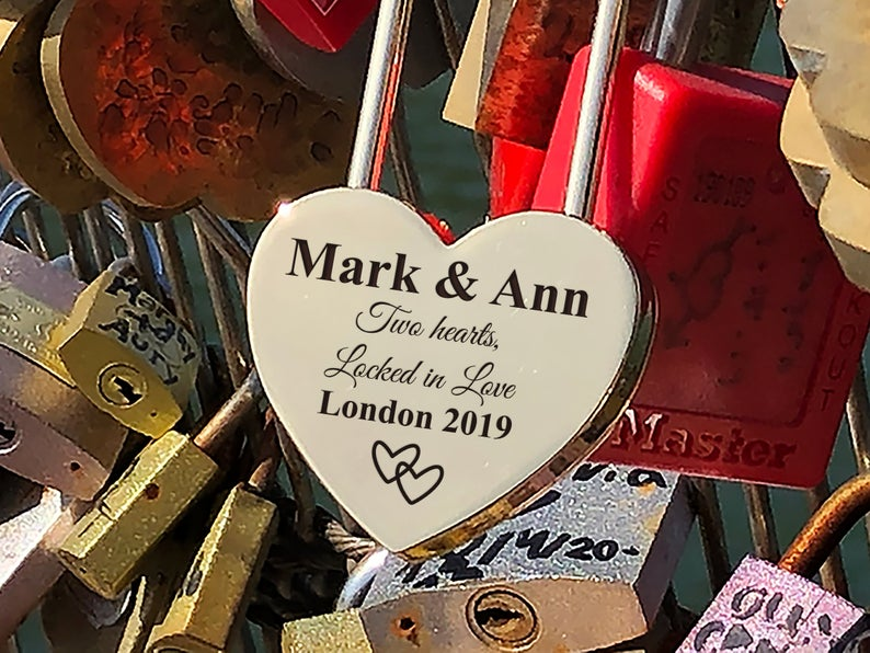 Personalized Silver Heart Love Padlock With Key, Love Lock, Heart Lock, Custom Lock, Engraved Love Lock, Silver Padlock, Love Wedding Gifts 6